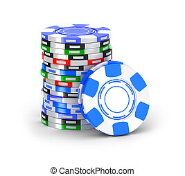 Casino chips in pile.