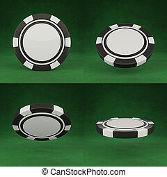 Casino chips isolated on green poker table background