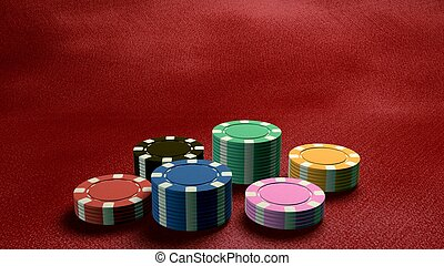 casino chips low angle red table