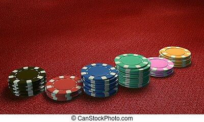 casino chips of bet side angle red table
