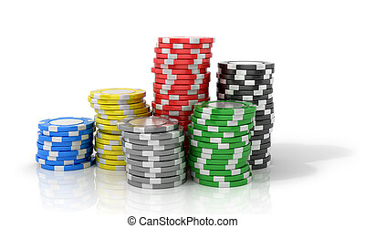 Casino chips on a white background.3D illustration