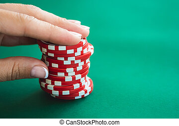 Casino chips on poker table