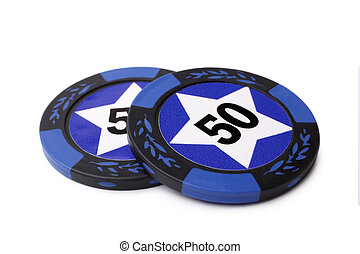 Casino chips on white background