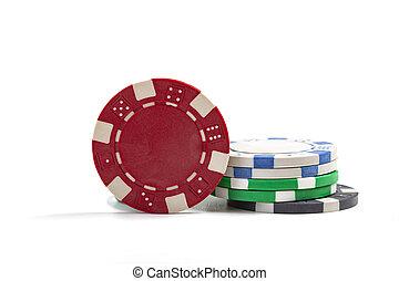 Casino Chips On White