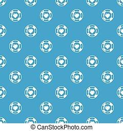 Casino chips pattern vector seamless blue