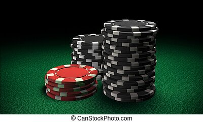 Casino chips red and black