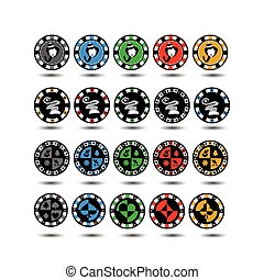 Casino Chips Set of 20 Christmas twenty pieces. god.Illyustratsiya new vector. Use for the site, printing, paper, cloth, decoration, design, etc. 10. EPS on a white background to separate easily