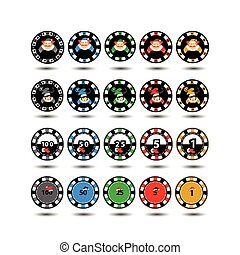 Casino Chips Set of 20 Christmas twenty pieces. new god.elf . Illustration vector. Use for the site, printing, paper, cloth, decoration, design, etc. 10. EPS on a white background to separate easily