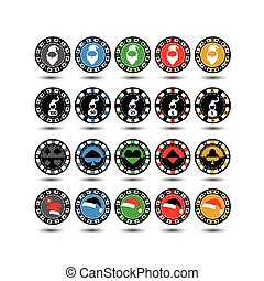 Casino Chips Set of 20 Christmas twenty pieces. new god.kolpak Santa Claus. Illustration vector. Use for the site, printing, paper, cloth, decoration, design, etc. 10. EPS on a white background to separate easily