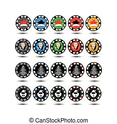 Casino Chips Set of 20 Christmas twenty pieces. new god.santa Claus. Illustration vector. Use for the site, printing, paper, cloth, decoration, design, etc. 10. EPS on a white background to separate easily