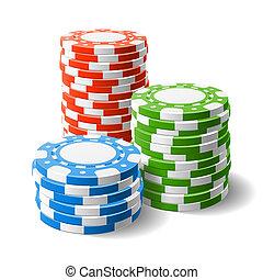Casino chips stacks - Vector illustration of casino chips...