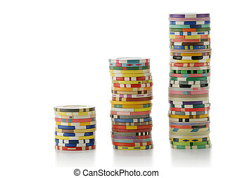 Casino chips - Three stacks of colorful casino chips ...