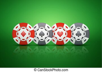 Casino chips with card suit symbols