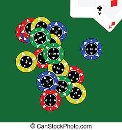 Casino chips with cards