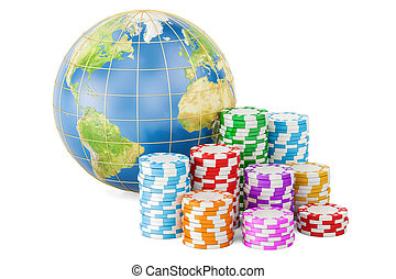 Casino chips with Earth Globe. Global entertainment and gambling concept, 3D rendering