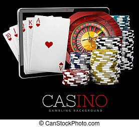 Casino Chips with Tablet, online casino concept, 3d Illustration of Casino Games Elements