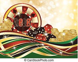 Casino christmas 2018, vector illustration
