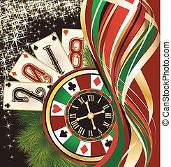 Casino Christmas wallpaper, vector illustration