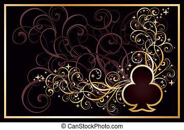Casino clubs golden card, vector illustration