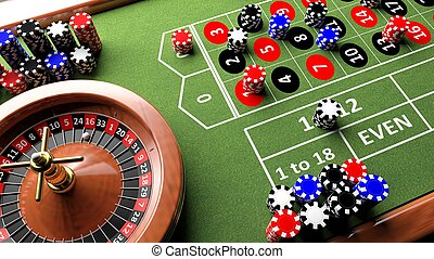 Casino complete table with roulette and chips, 3d render