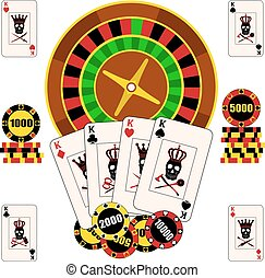 Casino composition with roulette wheel, playing cards and chips