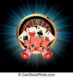 Casino Composition with Roulette Wheel, Playing Cards ans ...