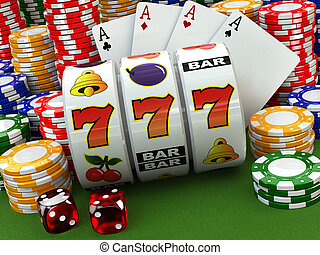 Casino concept. Jackpot. Poker cards, chips and dice.