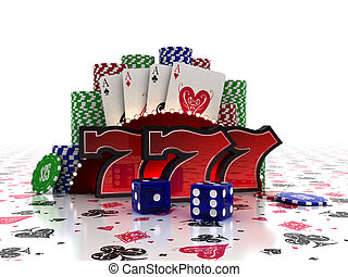Casino Concept - Lucky Sevens with cards and dice over...
