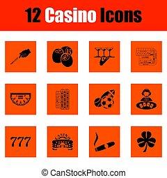 casino, conjunto, icono