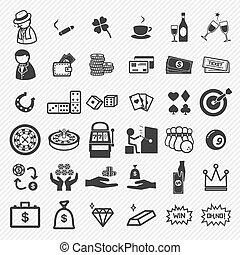 casino, conjunto, iconos