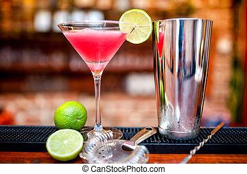 casino, cosmopolite, cocktail, boisson, servi, barre, chaux