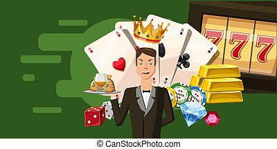 Casino croupier horizontal banner, cartoon style