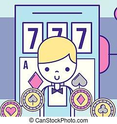 casino croupier male slot machine game chips gambling luck