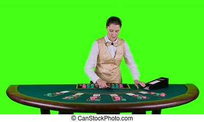 Casino croupier standing behind the semicircular table in a...