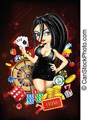 casino, dame, kaart