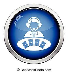 Casino dealer icon. Glossy button design. Vector ...