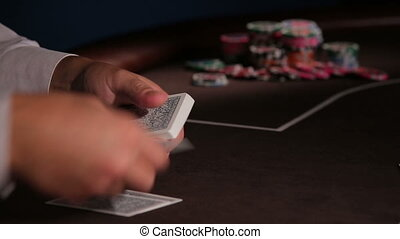 Casino. Dealing poker cards