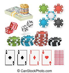 Casino Design Elements Vector. Poker Chips, Playing Cards, Craps. Isolated Illustration