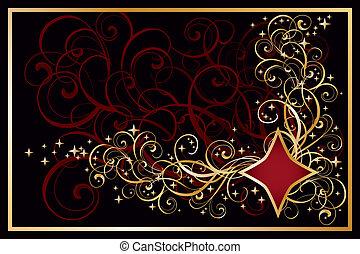 Casino diamond golden card, vector