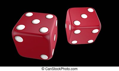 Casino dice approaching the screen, animation