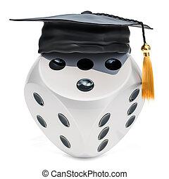 Casino dice with graduation cap. 3D rendering