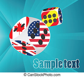 Casino dice with national flags