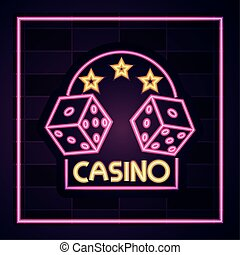 casino, dices gambling banner neon sign on brick wall