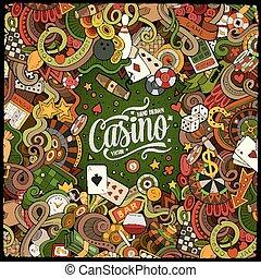 casino, diseño, doodles, caricatura, marco