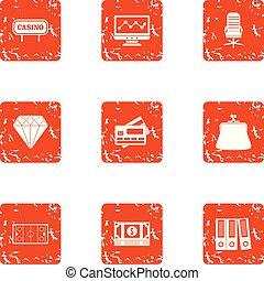 Casino document icons set, grunge style