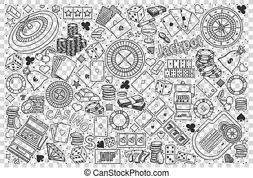 Casino doodle set