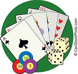 Casino - Playing cards, dice and poker chips on a green...