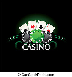 Casino element Poker cards and chip