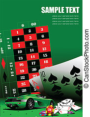 Casino elements on green table. Ve