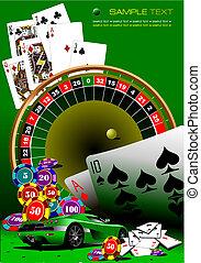 casino, elements., vector, illustrati